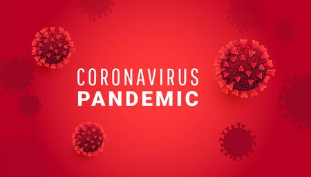 Coronavirus pandemic concept with SARS-CoV-2 virus molecule or infected bacteria with text on a red background. Can be used for article, banner, poster, infographics.