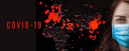 Coronavirus. Face of a young girl in a medical mask on a black horizontal background. Covid-19 pandemic epidemic red areas on a global map of the world