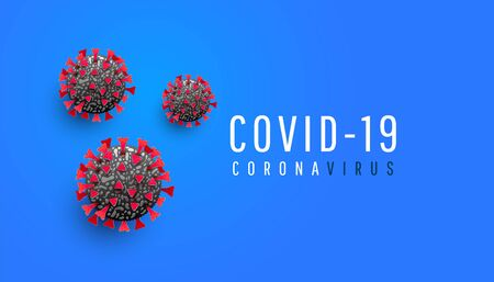 COVID-19. Coronavirus outbreak shades concept. Virus cell or bacteria on a blue background with place for text. Иллюстрация