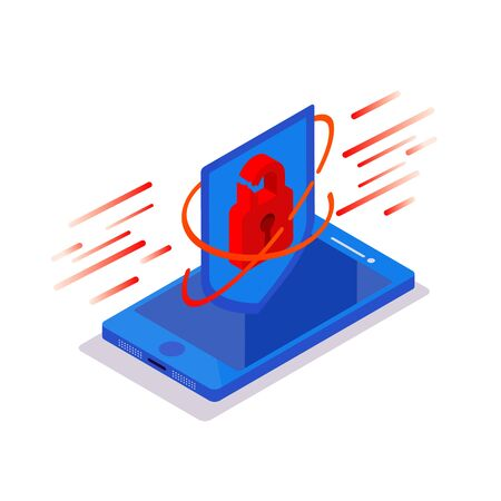Cyberattack concept. Isometric phone with padlock protective shield on a blue background. Hacking smartphone user database. New technologies security.