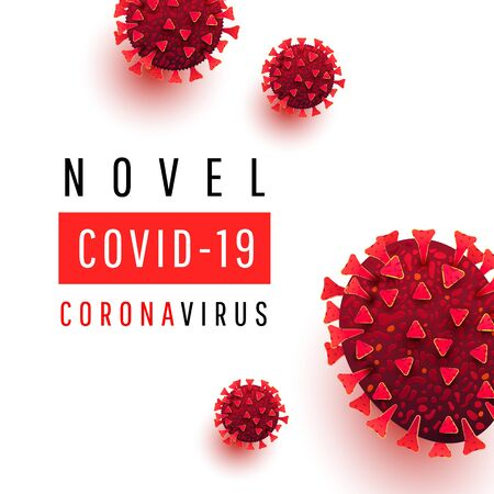 Novel covid 19 coronavirus text. Medical background with coronavirus cells on a white background. Иллюстрация