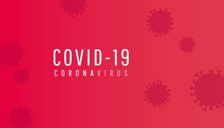 Coronavirus horizontal background with text. COVID-19 icon. Vector illustration on red background.