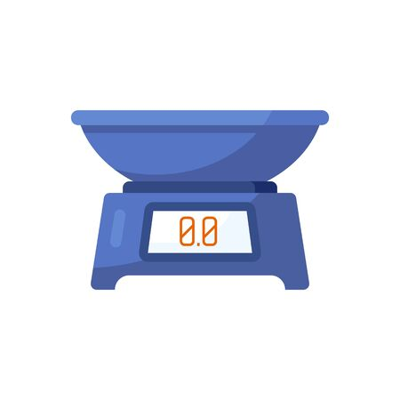 Kitchen blue scales isolated on white background