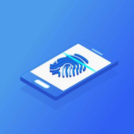 Digital information protection. Isometric mobile smart phone and fingerprint scan on blue background