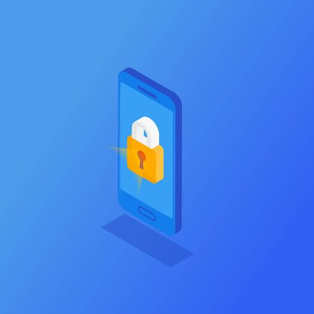 Isometric mobile smart phone locked on a blue background. Security, cyber attack protection concept