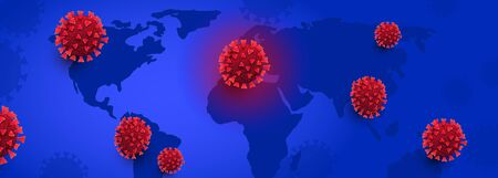 Horizontal abstract web banner template with world map and covid 19 charged cells on a blue background for news, article or poster. Coronavirus pandemic epidemic