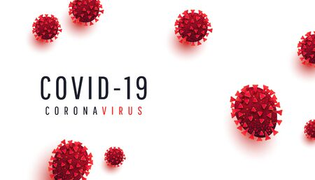 Covid 19, coronavirus infection concept. Realistic infected red virus cells on a white background with text. Vector illustration