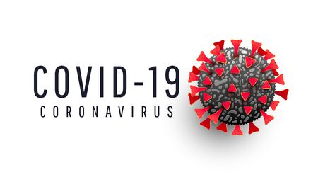 Covid 19 realistic cell with text coronavirus on white background. Covid-19 coronavirus outbreaks and pandemic medical health risk concept. Vector illustration