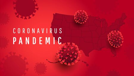 Coronavirus pandemic horizontal background with USA map with covid 19 infected cells on red background. Vector illustration