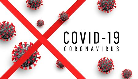 Coronavirus disease 2019. Coronavirus danger and public health risk disease concept. Realistic infected virus cells on a white background with text.