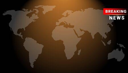 Breaking news horizontal dark design template background with world map. Graphical Modern Digital banner