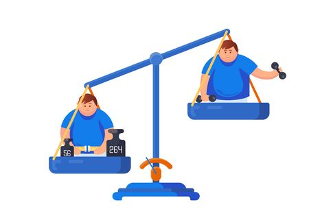 Obesity concept. Balance scales with a fat man measures his waist and a man goes in for sports, holds dumbbells in his hands isolated on a white background Иллюстрация