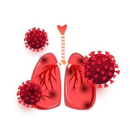 Lung coronavirus infection. Infection of the human body with the deadly virus Covid 19 isolated on a white background