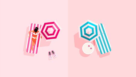 Illustration of summer vacation with a young girl on a deck chair, a parasol and fins for swimming on a delicate pink background, top view, flat lay style