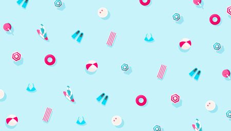 Summer holiday vacation accessories pattern on a blue background. Creative minimal composition, flat lay Иллюстрация