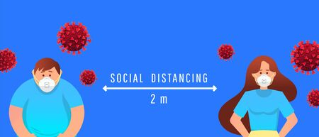 Social distance between people due to outbreaks of coronavirus. Masked guy and girl at a distance of 2 m