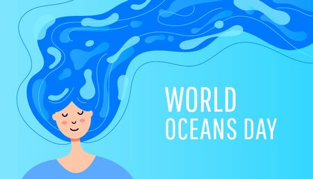World Oceans Day concept. Young girl with gassed gases and developing hair in the form of oceans, river and lake on a blue background Illusztráció