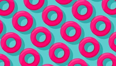 Pink swimming circles pattern on a blue background