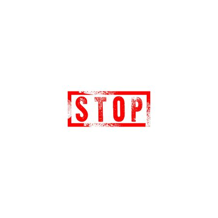 Stop sign grunge rot stamp isolated on white background. Stop coronavirus