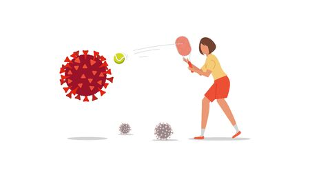 Coronavirus control concept. Cartoon girl with a racket hits the tennis ball to destroy the virus cove 19 Ilustração