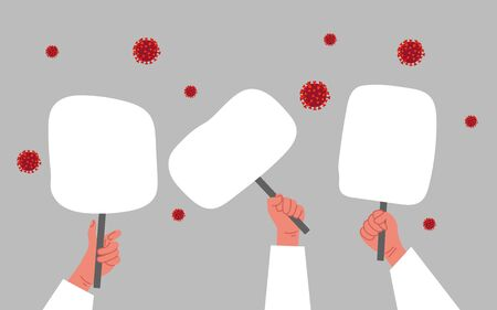 Lets stop coronavirus concept. People hands with tablet banner protest on a gray background. 矢量图像