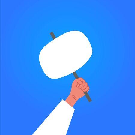 Human holds in hands protest poster on blue background.. Protest against the prevention of coronavirus. Lockdown quarantine.Vector illustration. Strike concept. 向量圖像