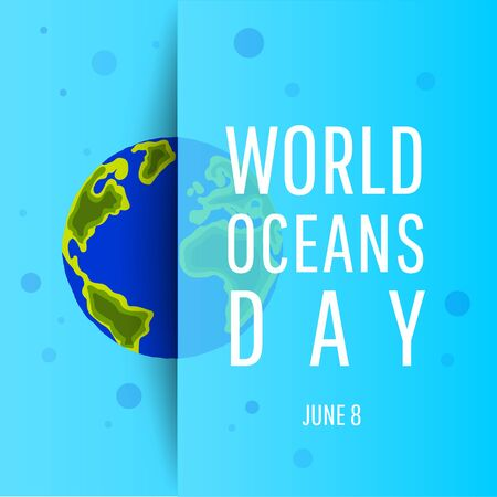 World ocean day concept. Save our planet. Flat style vector isolated illustration. Illustration