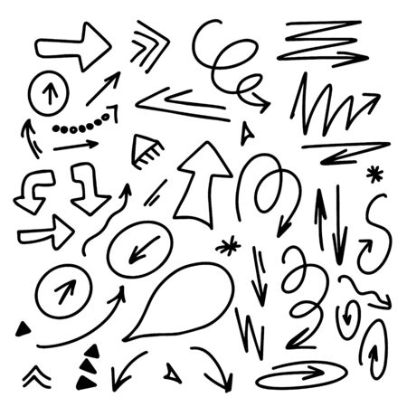 Hand drawn infographic elements arrows circles and abstract doodle writing design vector set.