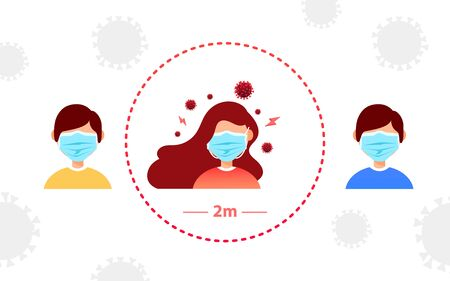 Coronavirus pandemic, social distancing concept. Vector illustration. Young girl in a protective mask infected with coronavirus and other people with a distance of 2 meters from her. Flat style design. The concept of the fight against the new virus Covid 19 Illusztráció