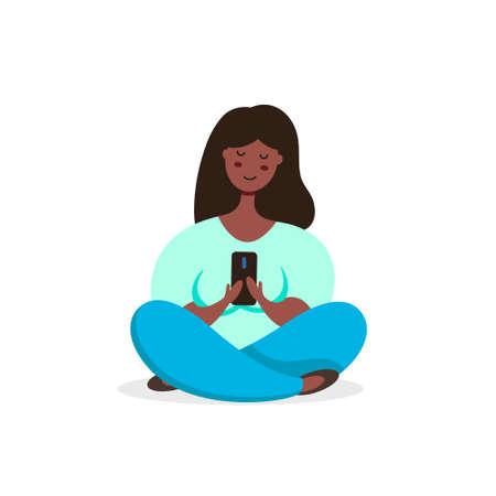 Black woman meditating in lotus pose uses smartphone. Vector illustration in flat style. Иллюстрация