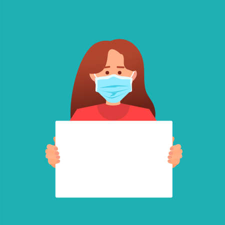 Woman in protective medical mask holding protest poster on green background. Rights and freedom concept, strike