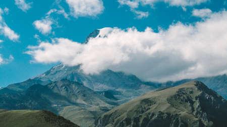 Panorama of beautiful green hills of the mountain