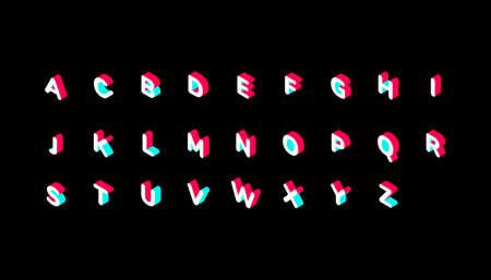 color isometric alphabet on black background, Vector illustration Illustration