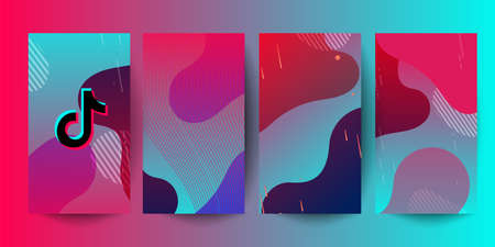 Pink green gradient horizontal background for social network. Mockup social media Tik Tok story concept. Vector illustration