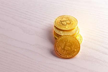 Crypto currency Gold Bitcoin, BTC, Bit Coin. Blockchain technology, bitcoin mining concept