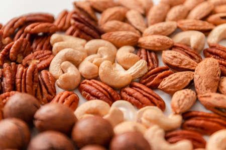 Mix nuts pecan, macadamia, walnut, almonds, hazelnuts Top view flat lay