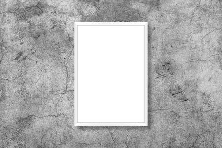 Blank white vertical rectangle poster mock up in white frame on a gray background.