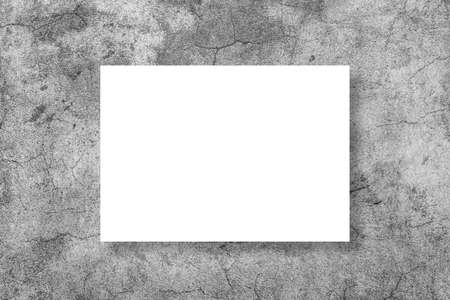 Empty white horizontal rectangle poster mockup on a grey background. A4 format