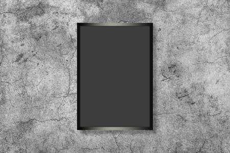 Blank white vertical rectangle poster mock up in black frame on a gray background. Standard-Bild