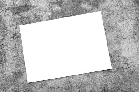 Empty white horizontal rectangle poster mockup on grey background to replace your design