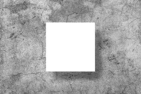 Empty white horizontal rectangle poster mockup on a concrete wall Standard-Bild