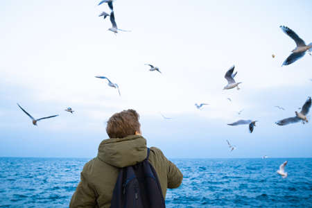 A young guy in a green jacket stands with his back and feeds seagulls on the seashore