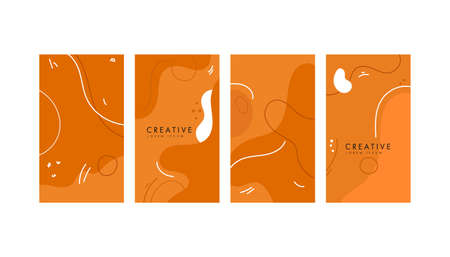 Colorful abstract geometric mimphis banners on a white background. Design backgrounds for social media post and stories