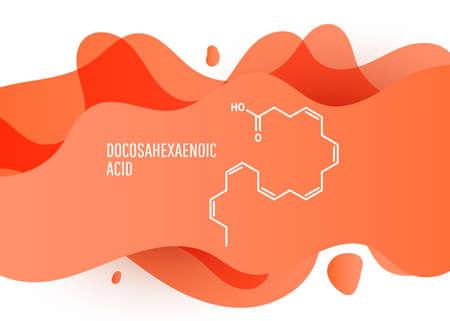 Docosahexaenoic acid skeletal chemical formula, DHA, cervonic acid, molecule. Vector illustration Vetores