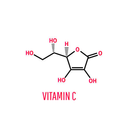 Vitamin C molecule on white background. Vector illustration Ilustracje wektorowe