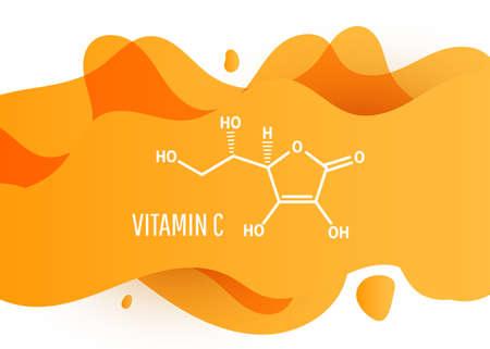 Vitamin C skeletal chemical formula on orange liquid fluid shape background. Vector illustration