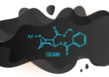 Cocain or coke structural chemical formula with black liquid fluid shapes on white background