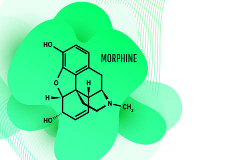 Morphine chemical formula, opium alkaloid with green liquid fluid shapes on white background