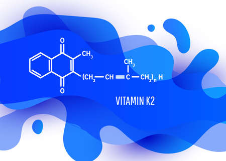 Vitamin K2 structural chemical formula with a blue liquid fluid gradient shape with copy space on white background