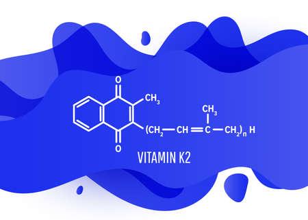 Vitamin K2 structural chemical formula with blue liquid fluid gradient shape with copy space on white background Ilustração